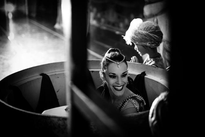 "Lara O'Brien as Arabian Coffee preparing her coffee cup in Robert Weiss' ""The Nutcracker."" Photo by © Tim Lytvinenko."