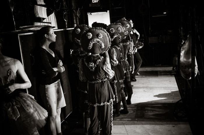 "Gingerbread children backstage in Robert Weiss' ""The Nutcracker."" Photo by © Tim Lytvinenko."