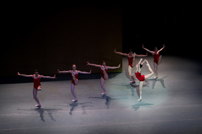 "Lara O'Brien (in front) with Sarah Newton, Ashley Hathaway, Lola Cooper, Cecilia Iliesiu, and Lindsay Turkel in Christopher Stowell's ""Rite of Spring."" Photo by © Tim Lytvinenko, 2013."