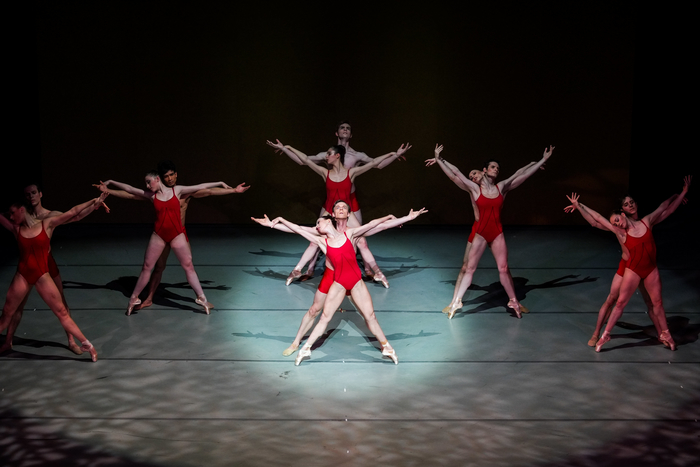 "Lindsay Purrington and Richard Krusch (in front) with the five couples in Christopher Stowell's ""Rite of Spring."" Photo by © Tim Lytvinenko, 2013."