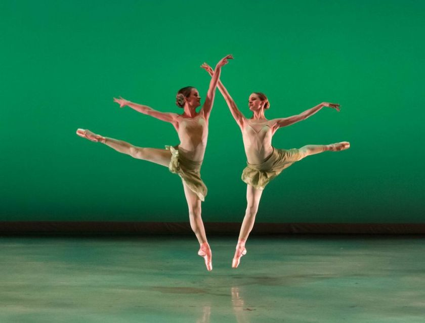"SPRING with Elizabeth Ousley Muñoz and Amanda Gerhardt. Weiss' premiere of ""Vivaldi's Four Seasons."" Photo by Denise Cerniglia, 2014."