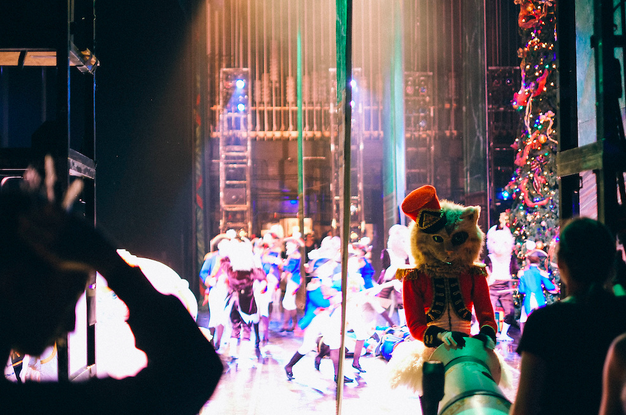 "The Calico Cat preparing the cannon for the Battle Scene in Weiss' ""The Nutcracker."" Photo by Tim Lytvinenko, 2013."
