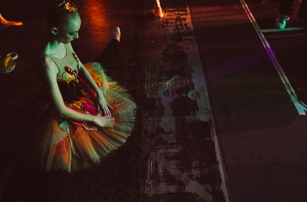 "Ashley Hathaway preparing for the Waltz of the Flower for Weiss' ""The Nutcracker."" Photo by Tim Lytvinenko, 2013."