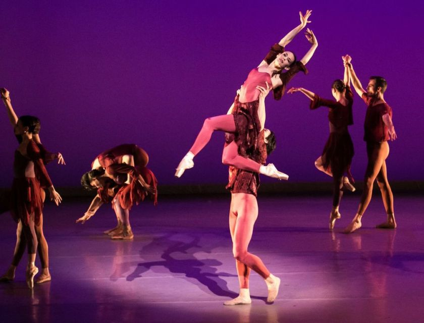"FALL with Lara O'Brien, Marcelo Martinez, and company dancers. Weiss' premiere of ""Vivaldi's Four Seasons."" Photo by Denise Cerniglia, 2014."