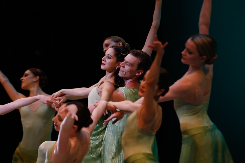 "SPRING with Lilyan Vigo Ellis, Richard Krusch, and company ladies. Weiss' premiere of ""Vivaldi's Four Seasons."" Photo by Tim Lytvinenko, 2014."