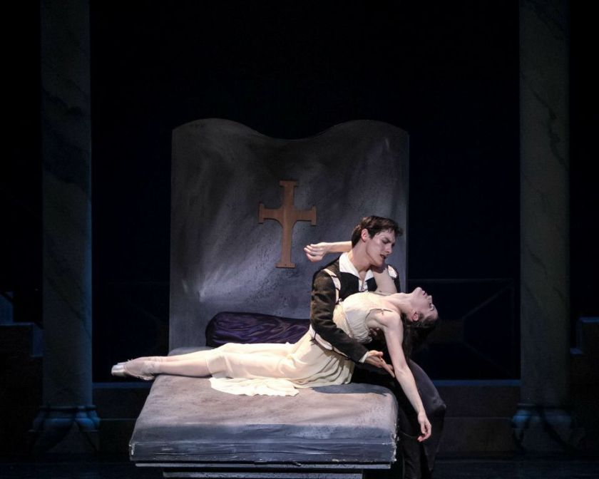 "Act III Graveyard - Lara O'Brien (Juliet) and Marcelo Martinez (Romeo) in Robert Weiss' ""Romeo & Juliet."" Photo by Denise Cerniglia, 2014."