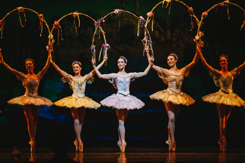 "Alicia Fabry, Elice McKinley, Lara O'Brien, Cecilia Iliesiu, and Randi Osetek as Fairies in Act I in Robert Weiss' ""Sleeping Beauty."" © Tim Lytvinenko, 2014."