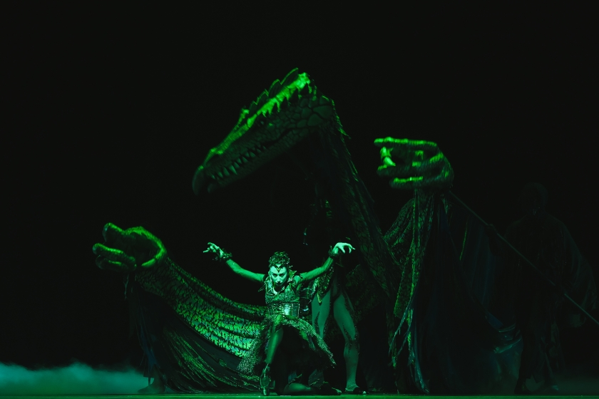 "Lindsay Purrington as Carabosse with her dragon in Act II in Robert Weiss' ""Sleeping Beauty."" © Tim Lytvinenko, 2014."