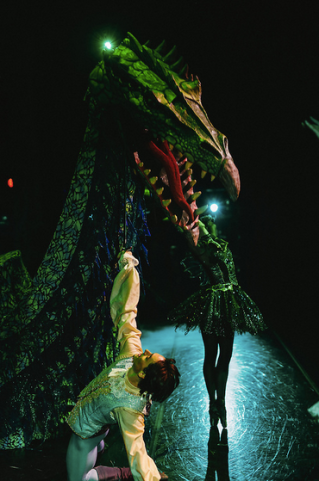"Carabosse and her dragon with Marcelo Martinez as Prince Désiré in Robert Weiss' ""Sleeping Beauty."" © Tim Lytvinenko, 2014."